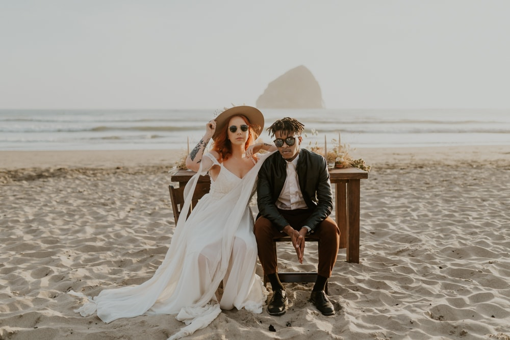 A bride and groom eloping on a beach in the US.