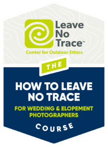 Leave No Trace badge for Brianna Parks, a California elopement photographer.