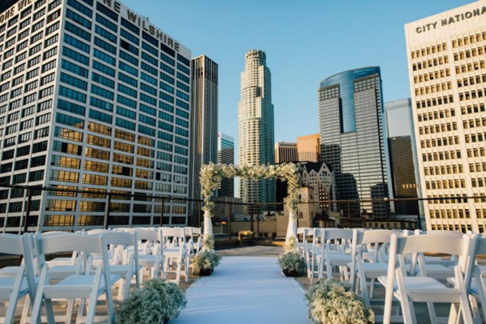 The Los Angeles skyline from the Los Angeles Athletic Club, a Los Angeles wedding venue.