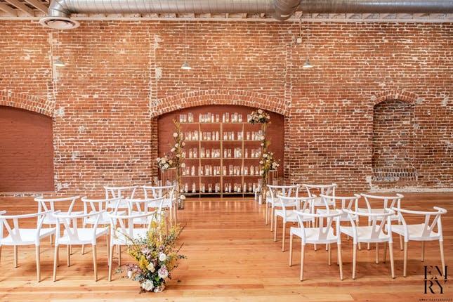 A brick indoor wedding venue in San Diego.