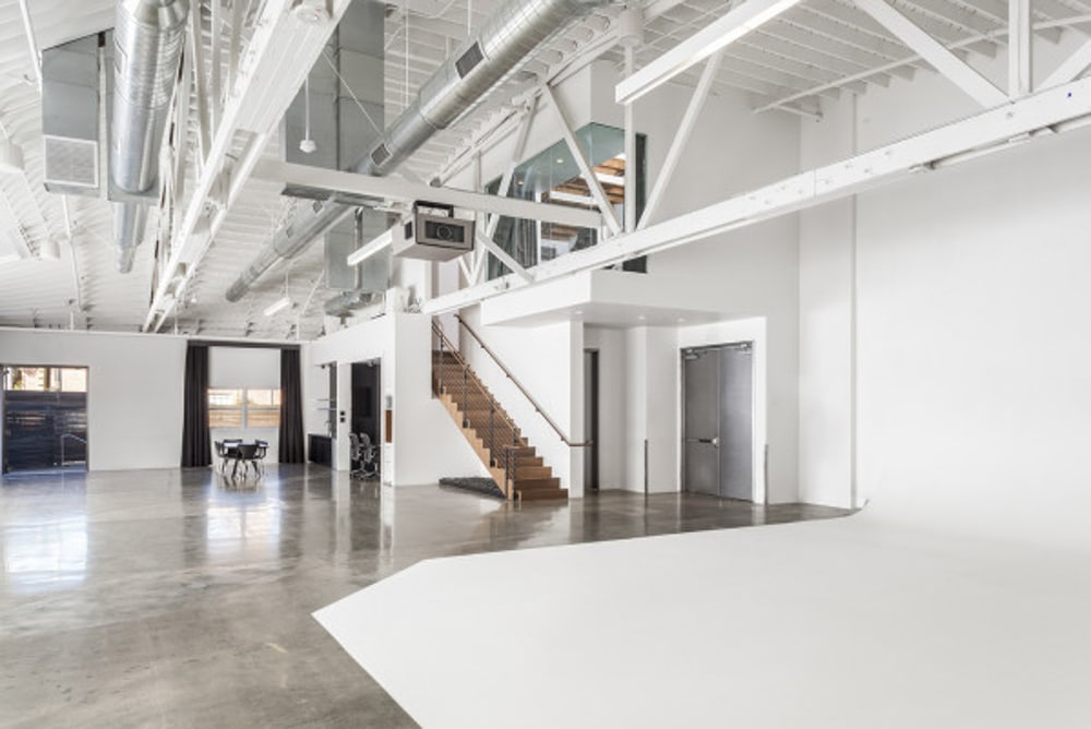 A white studio in Los Angeles.