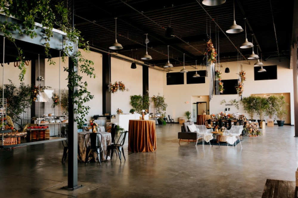 Interior design of Hangar 21, an indoor wedding venue in Los Angeles.