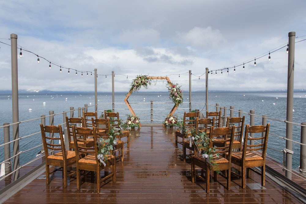 A ceremony setup at West Shore Cafe and Inn​, a wedding venue in Lake Tahoe.