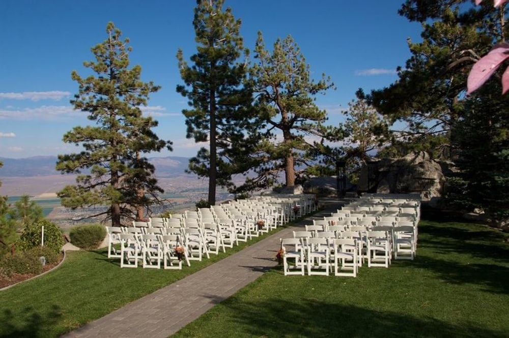 A wedding ceremony setup at Tahoe Ridge Resort​, a Lake Tahoe wedding venue.