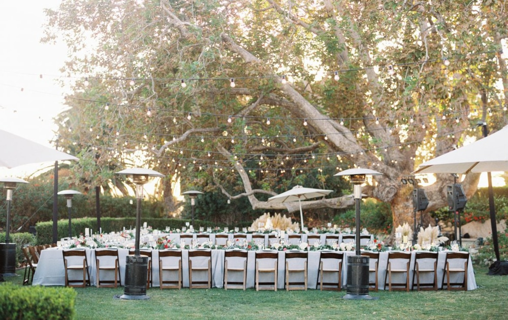 A ceremony setup of the Adamson House, an outdoor wedding venue in Malibu.