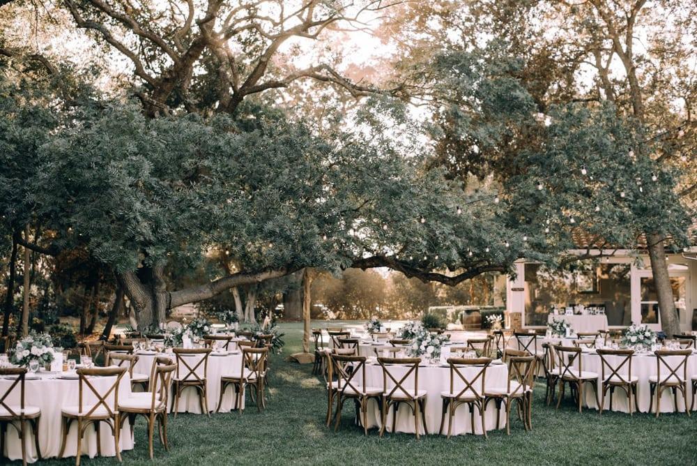 A reception setup at The Maples, an outdoor wedding venue in Sacramento.