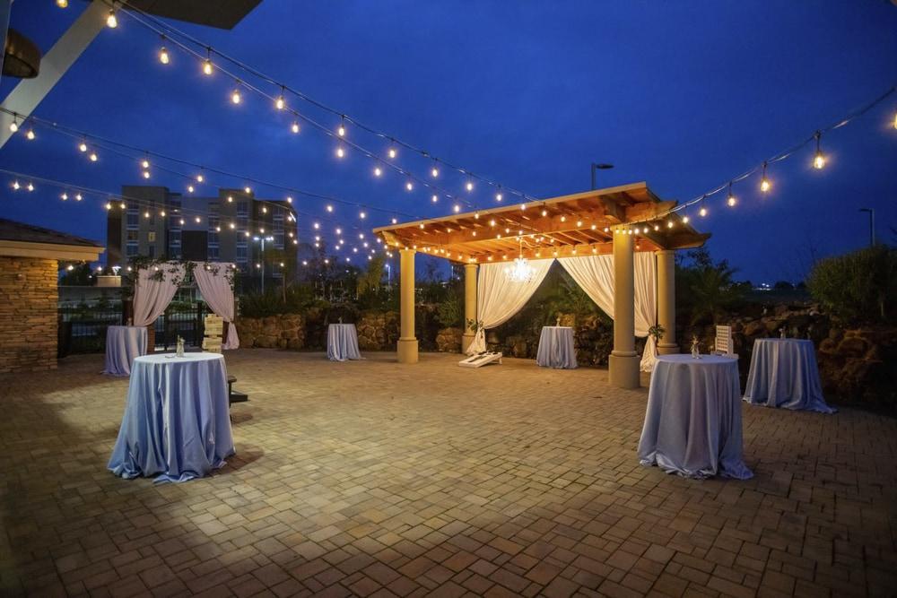 An image of Union Brick at night, an outdoor Sacramento wedding venue.