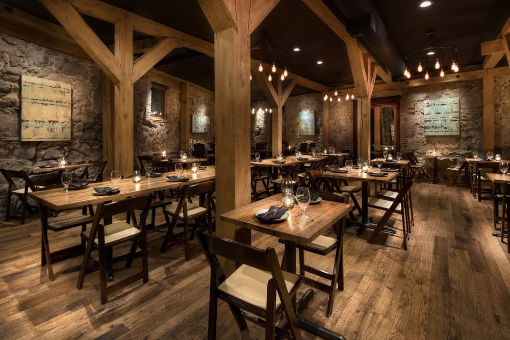 The inside space of the Stone House, an indoor restaurant and wedding venue in Sacramento.