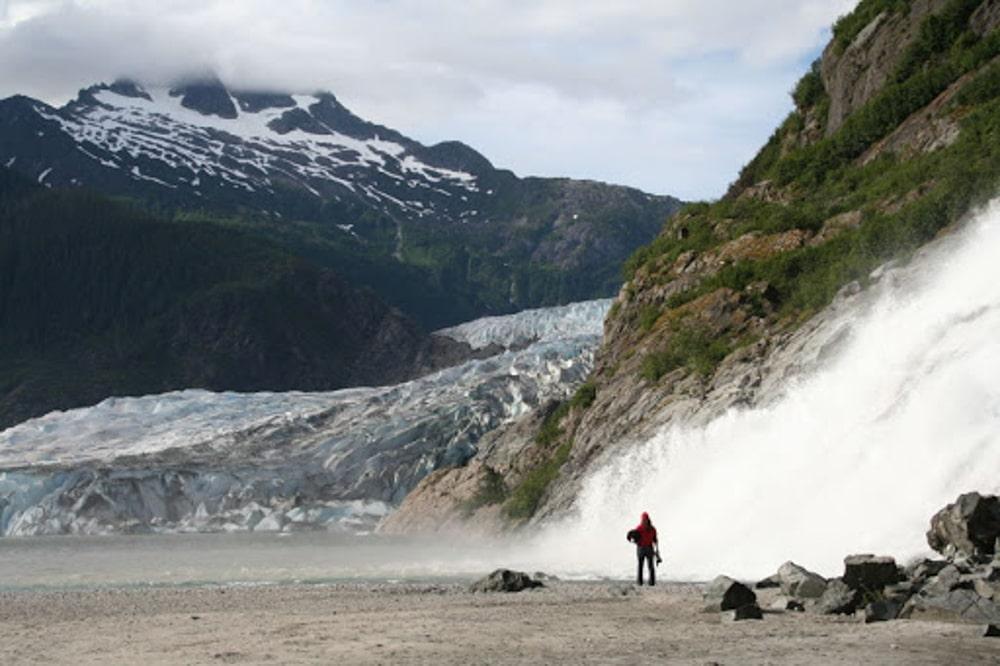 Nugget Falls, a waterfall wedding venue in Alaska.