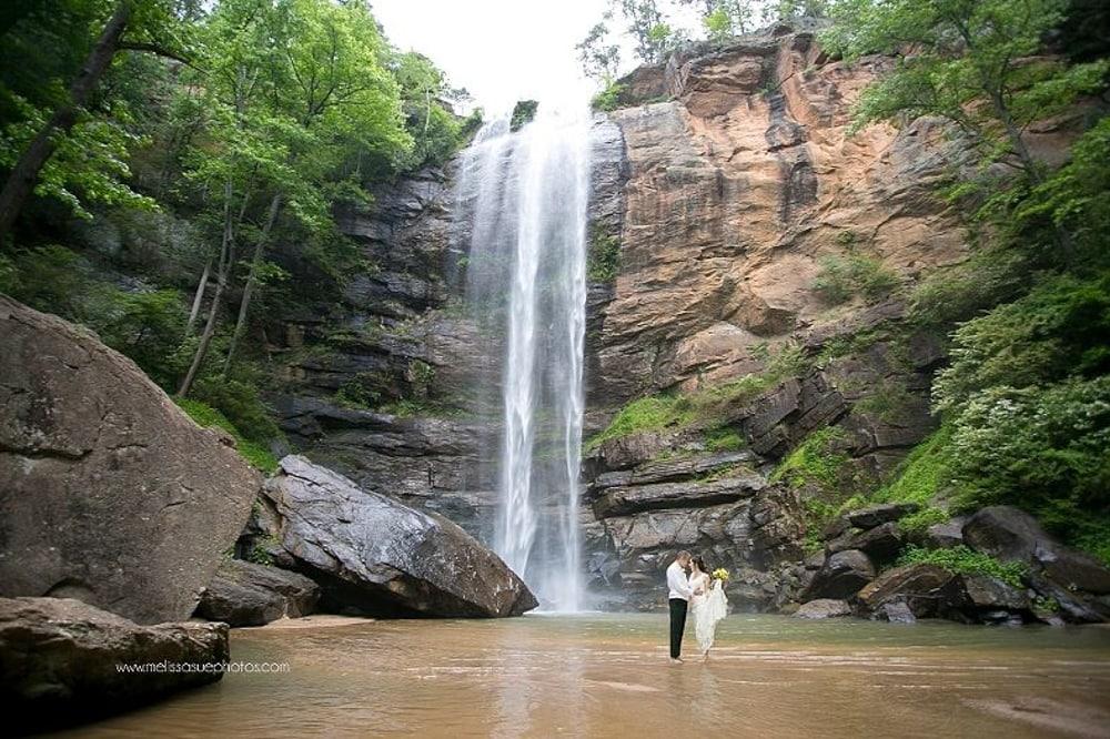 Toccoa Falls in Georgia, a waterfall wedding venue.
