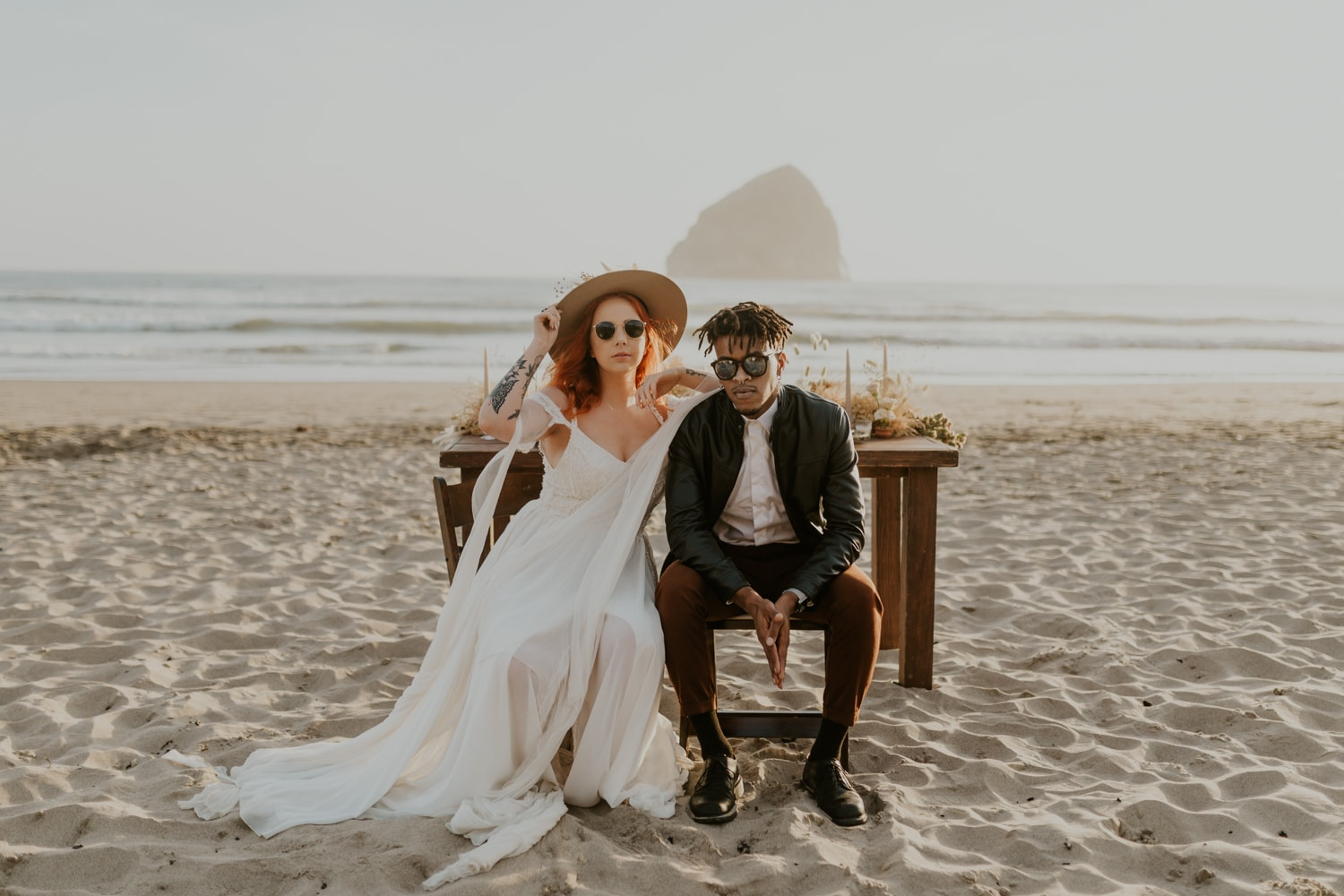 A couple eloping on the beach in Malibu, California.