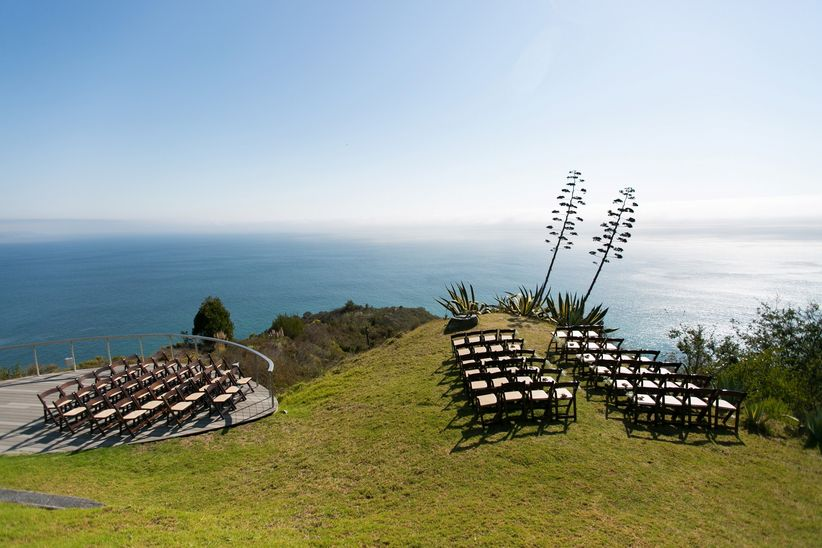 A ceremony setup on a mountain at Point 16, a wedding venue in Big Sur.