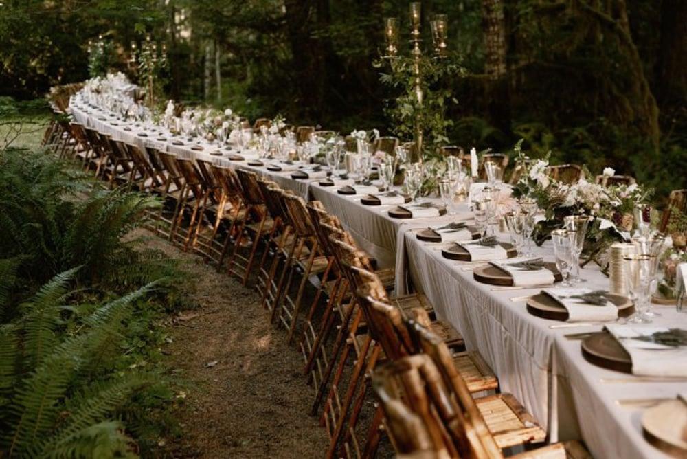 A dinner setup at Copper Creek Inn, a forest wedding venue in Washington State.