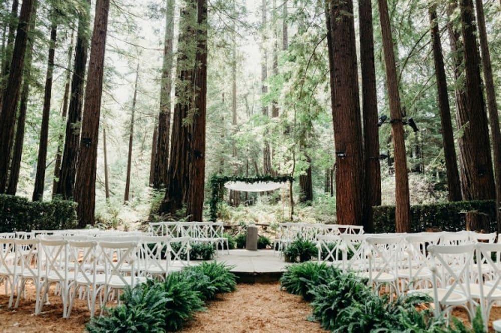 A ceremony setup at Island Farm, a forest wedding venue in California.