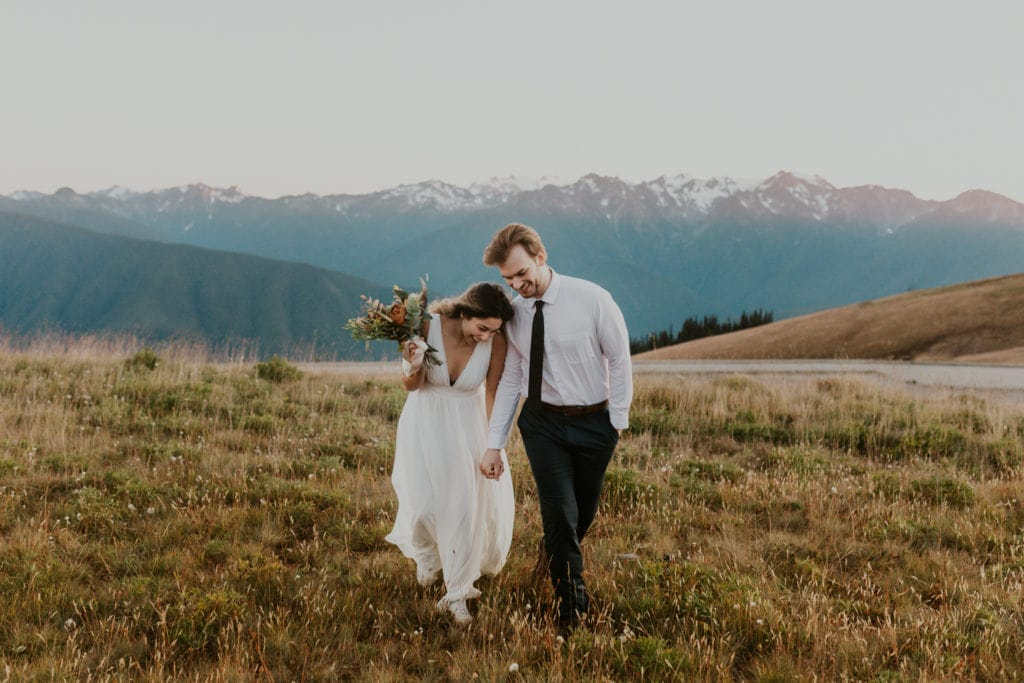 A couple eloping on top of Hurricane Ridge, a mountain wedding venue in Washington.