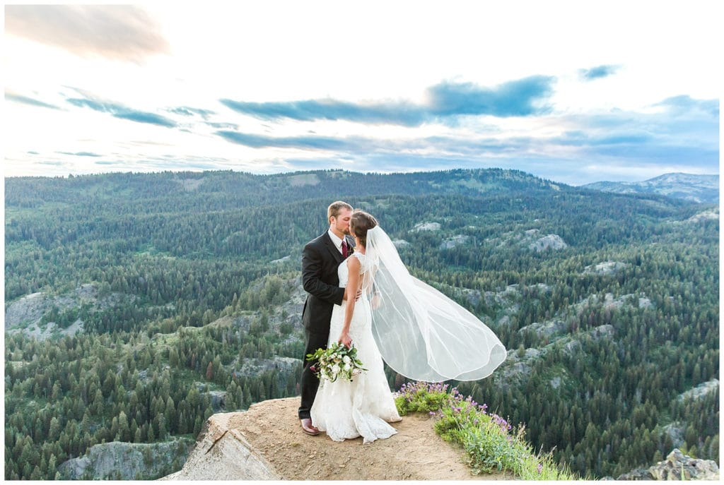 A couple kissing at Brundage Mountain Resort in McCall, Idaho, a wedding venue in the mountains.
