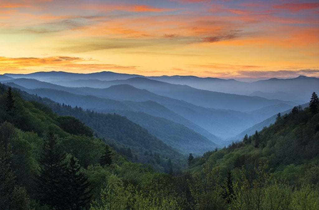 The Great Smoky Mountains National Park mountains in Tennessee.