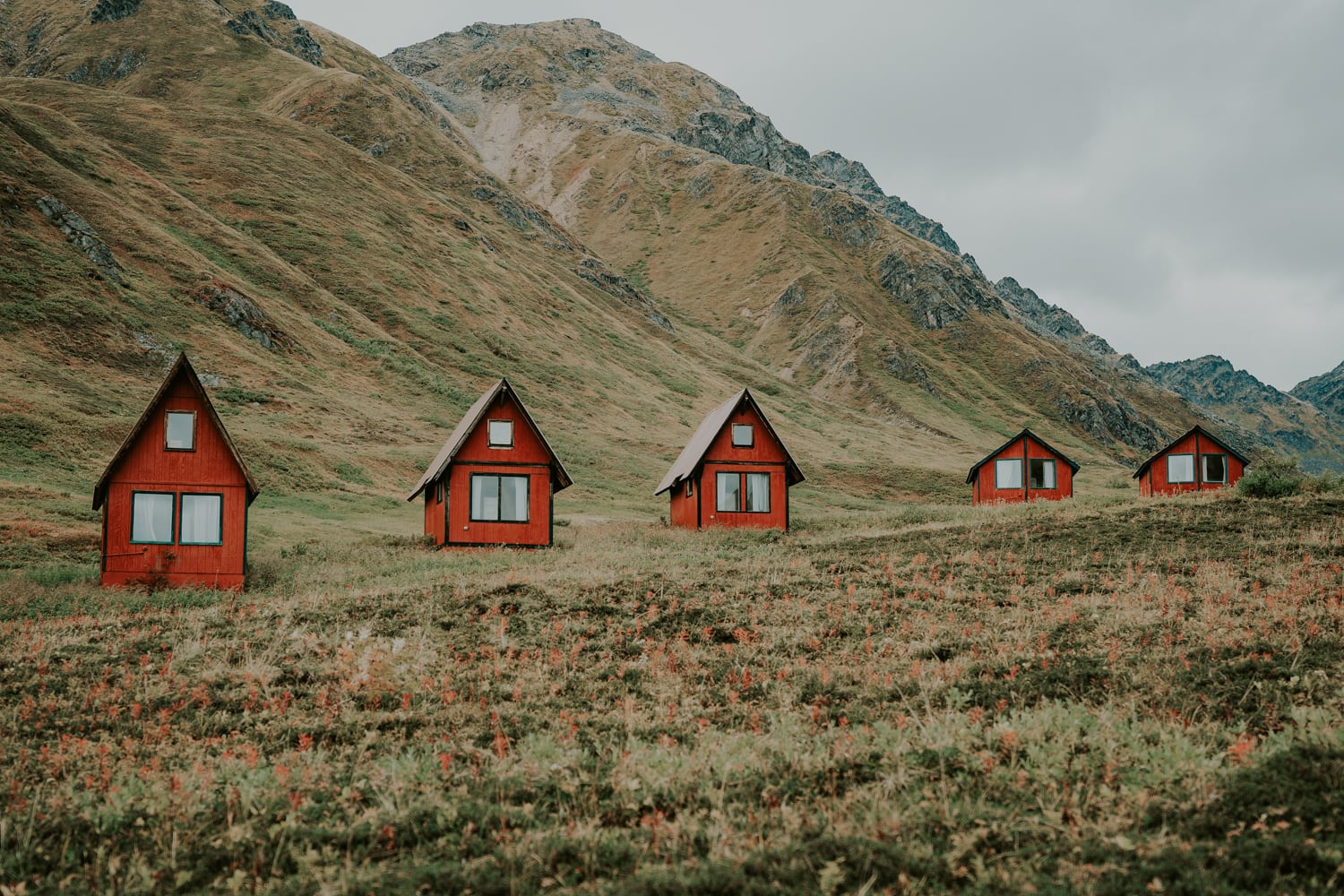 Red cabins at Hatcher Pass in Alaska.