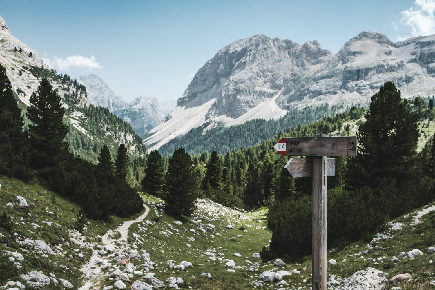 A hiking trail within the Dolomites, a mountain range in Italy.