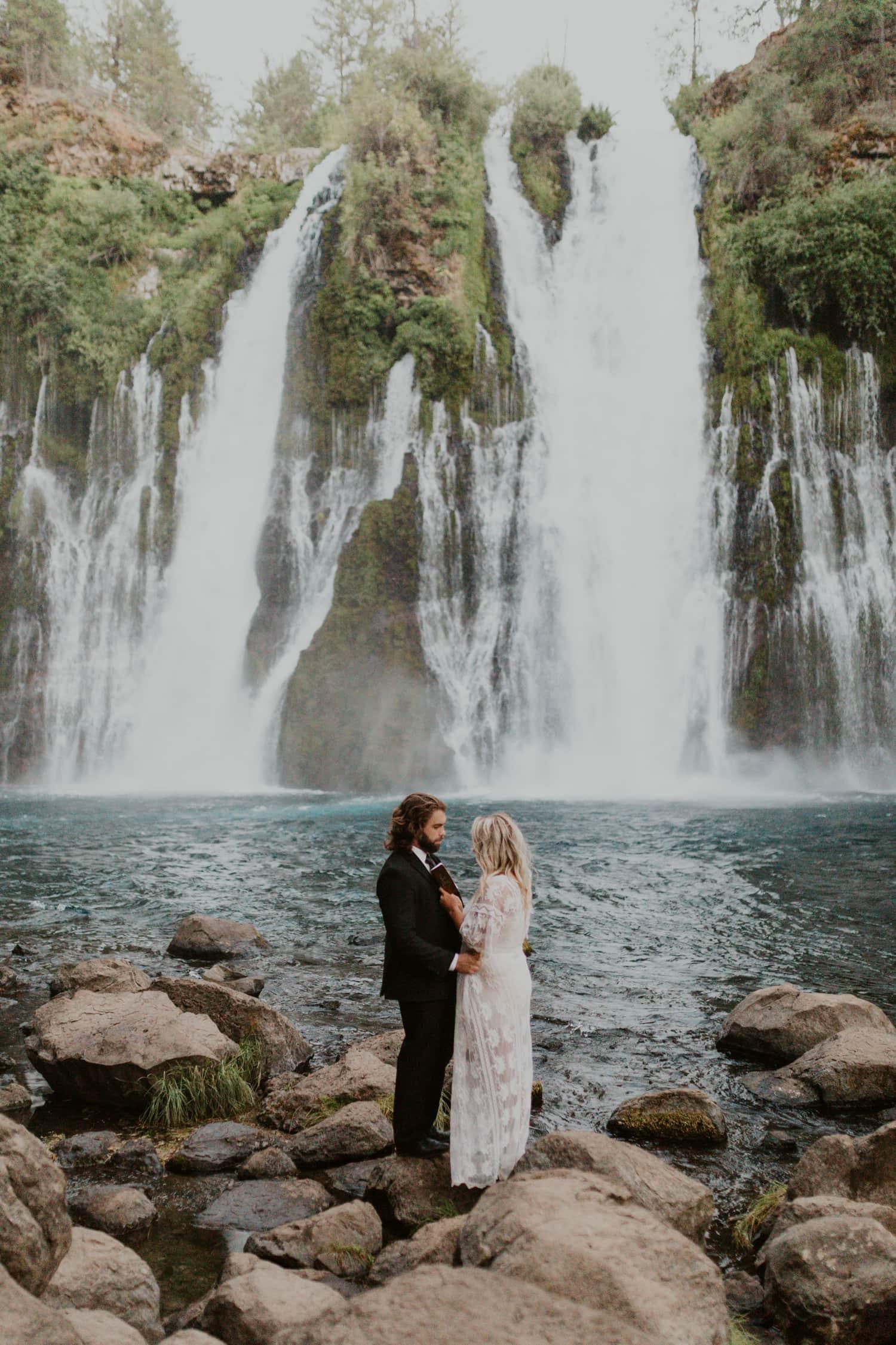 A waterfall elopement at Burney Falls.