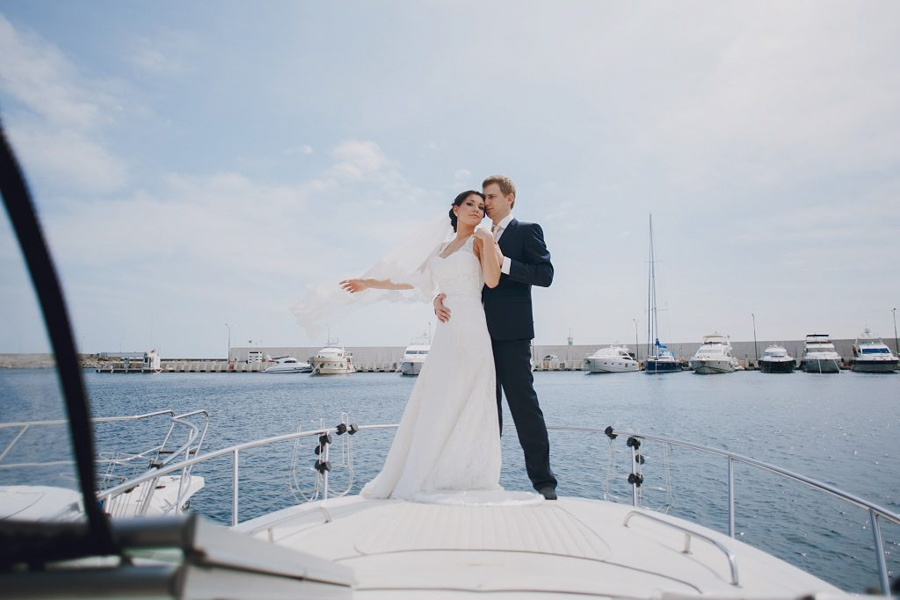 A couple on a boat for their wedding on Catalina Island.