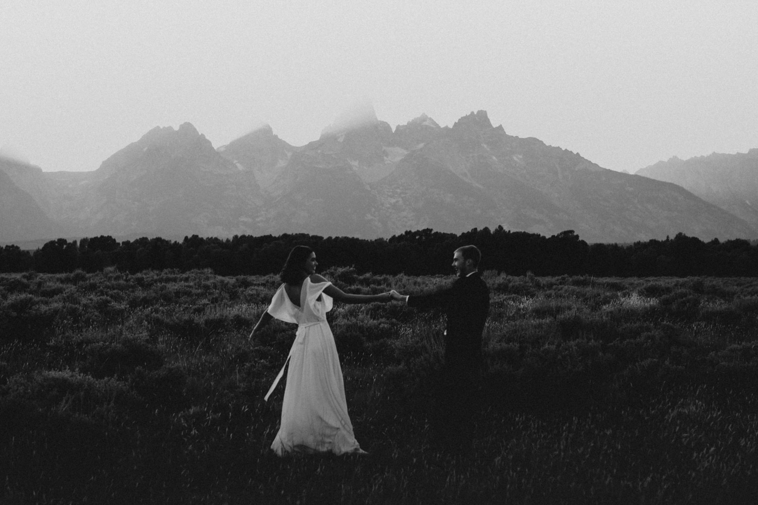 A bride and groom in Grand Teton National Park.