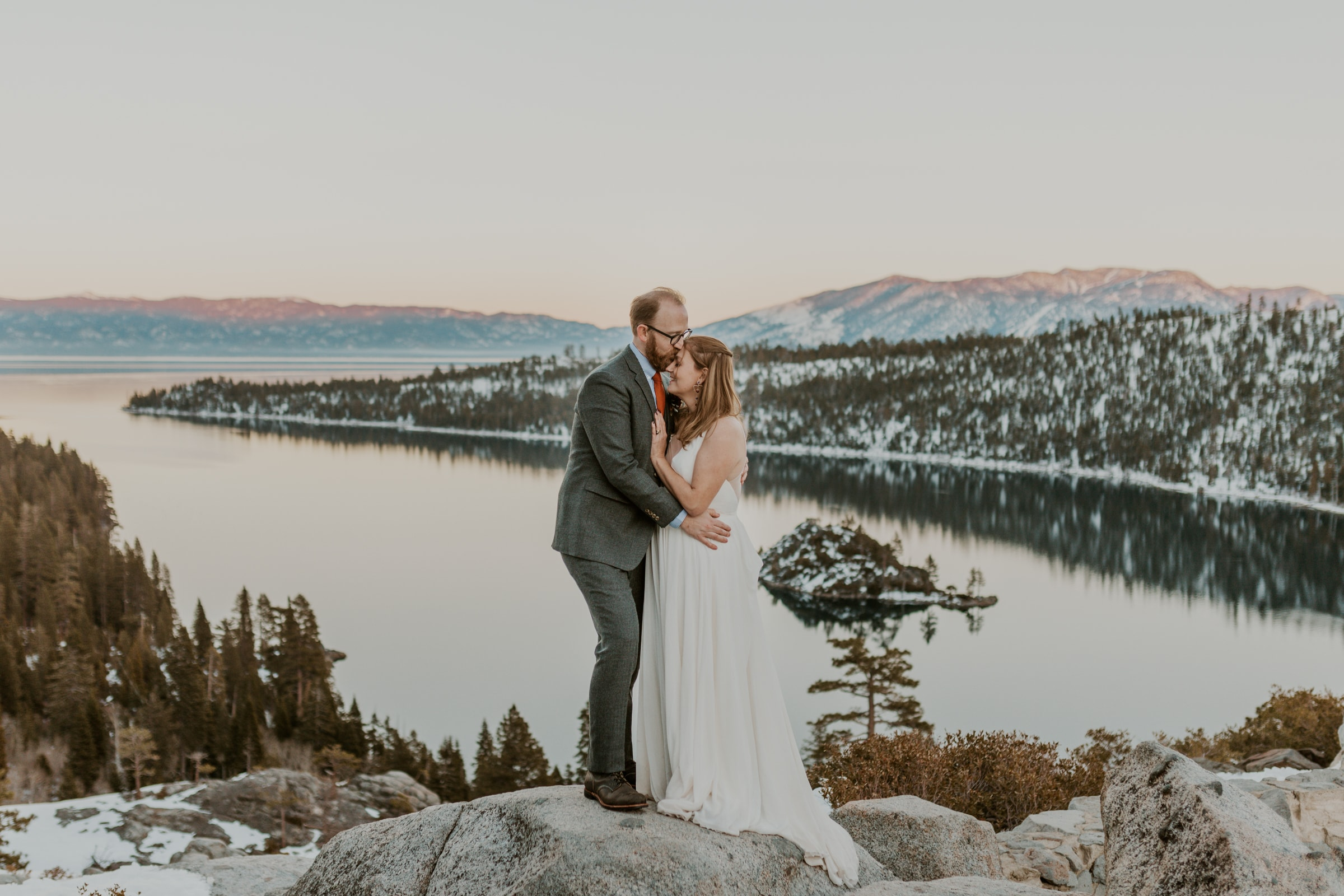 A couple eloping at Emerald Bay State Park in Lake Tahoe.