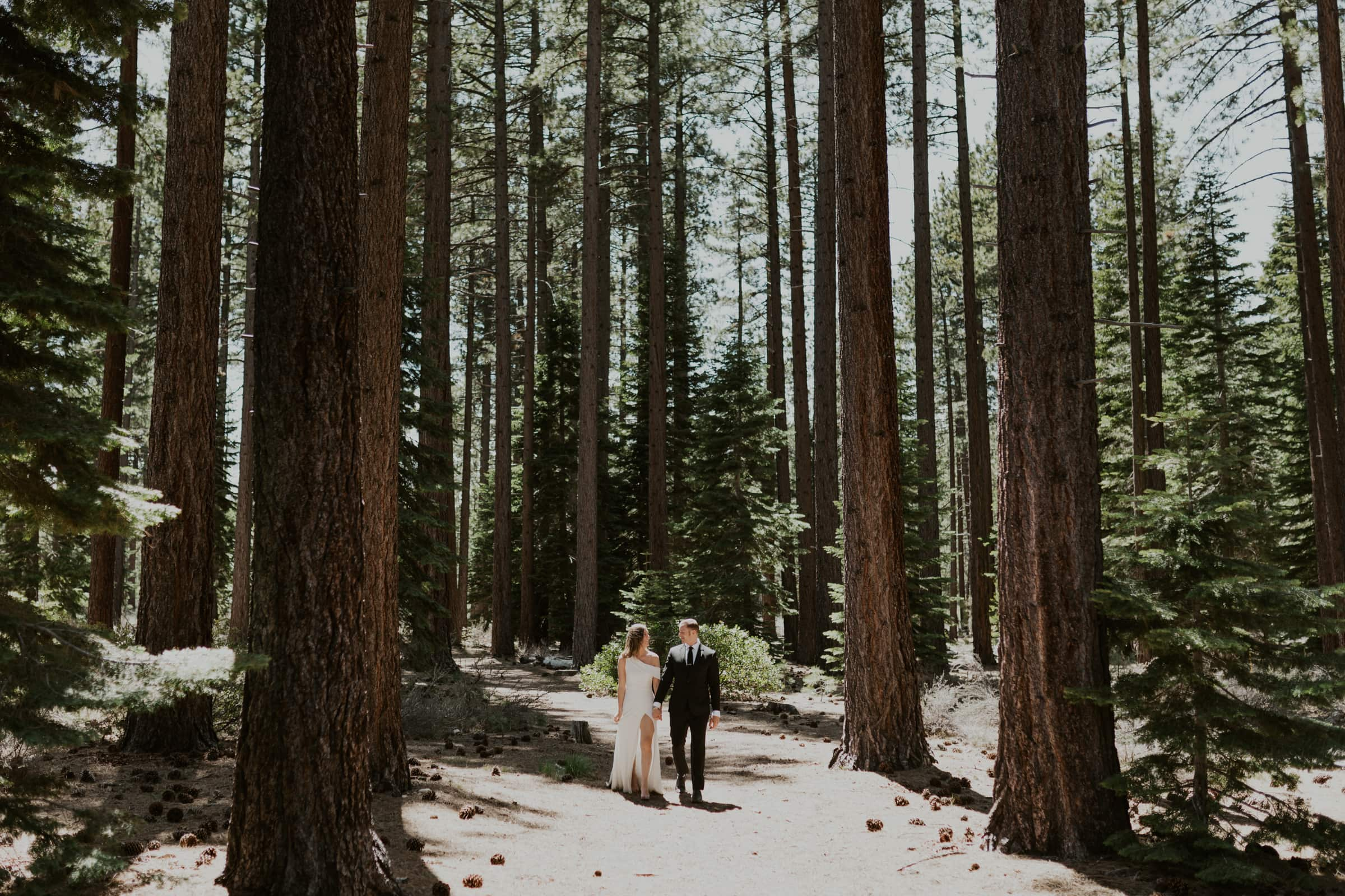 A couple walking in the forest of Lake Tahoe on their wedding day.