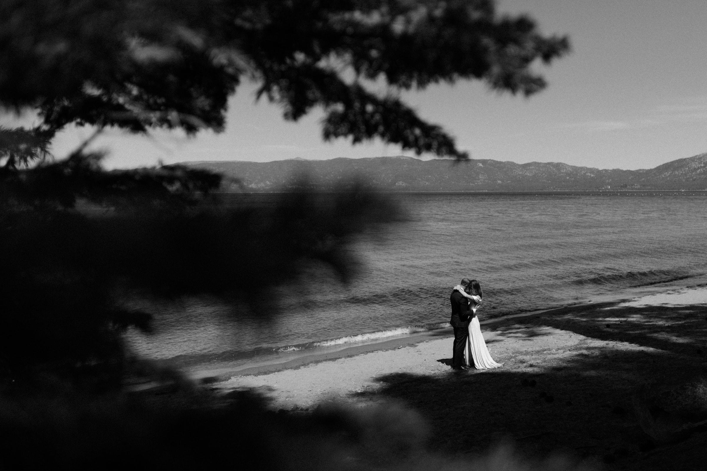 A first dance during a Lake Tahoe elopement.