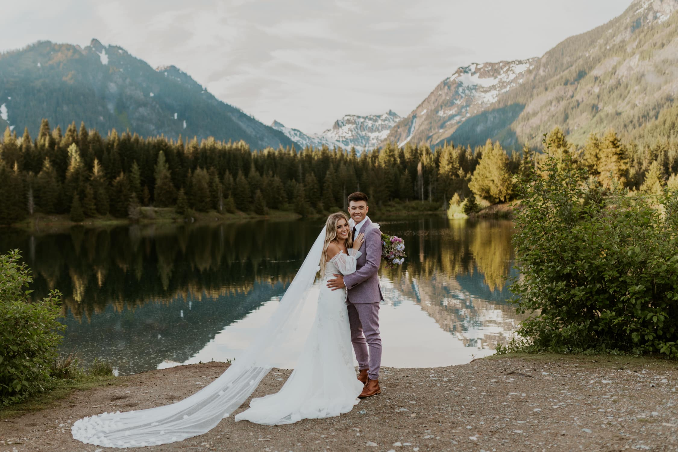 A couple in front of Gold Creek Pond in Washington State.