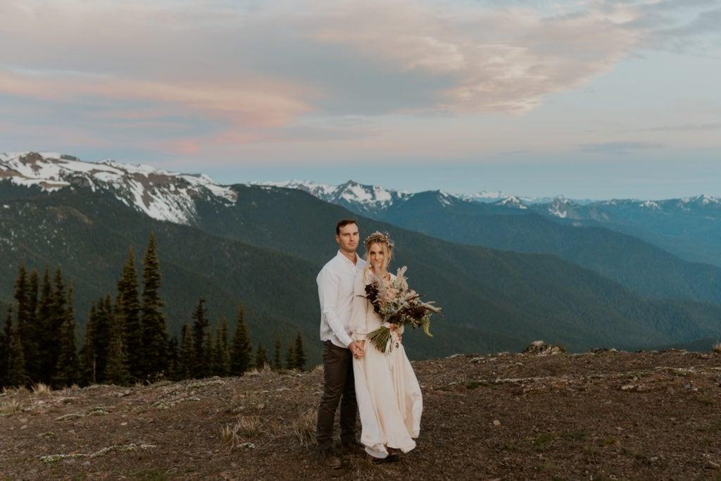 A couple eloping on Hurricane Ridge in Washington State.