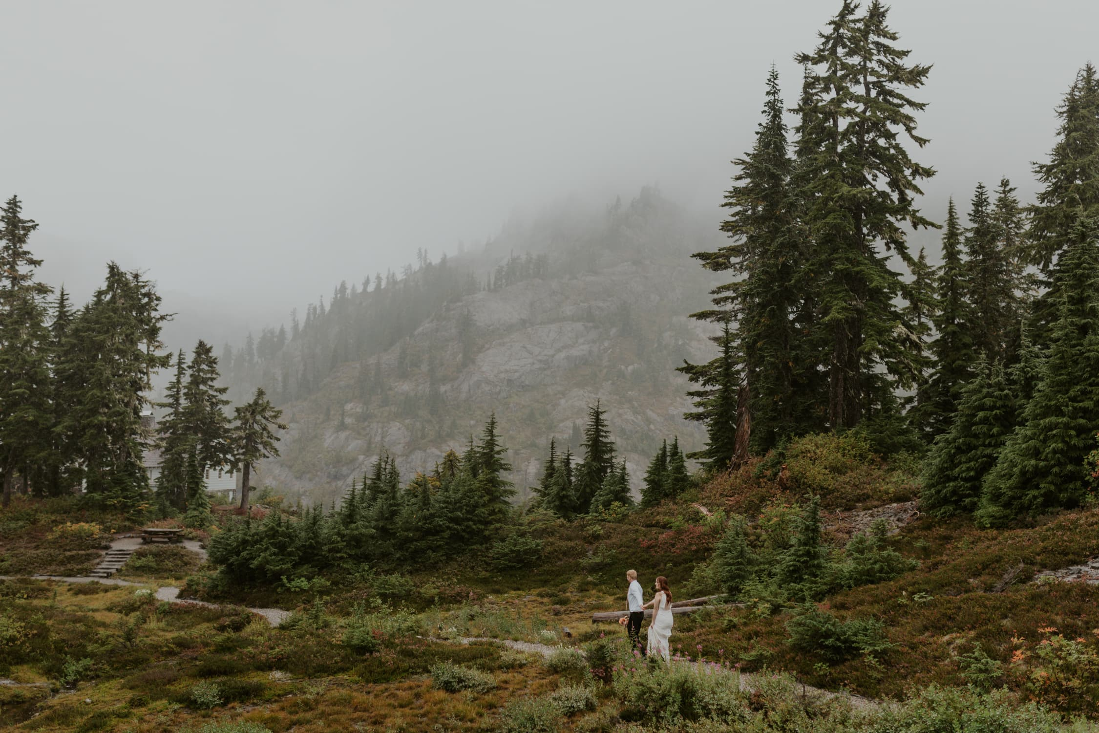 A bride and groom holding hands and walking together in North Cascades.